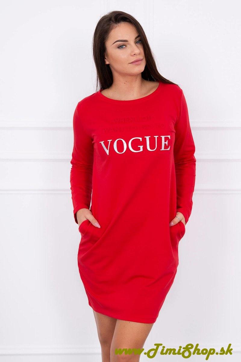 310309d396a95 ŠATY | Šaty s vreckami a nápisom Vogue - Červena | TimiShop