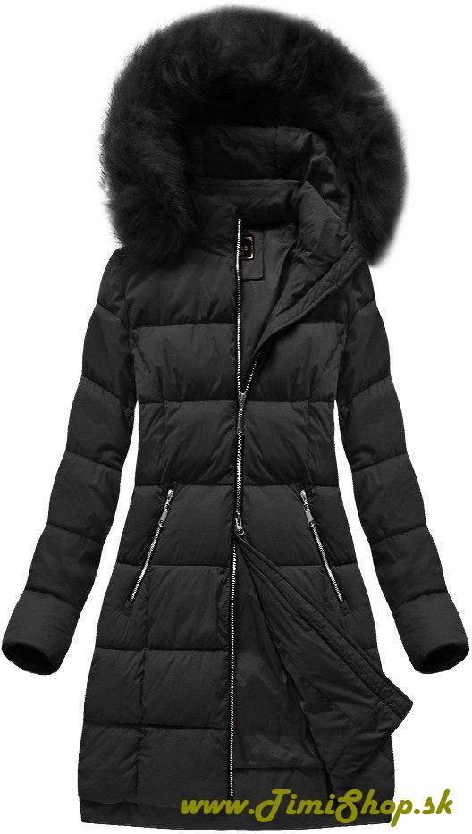 Prešívaná dlhá zimná bunda - Čierna e16d3fd041e