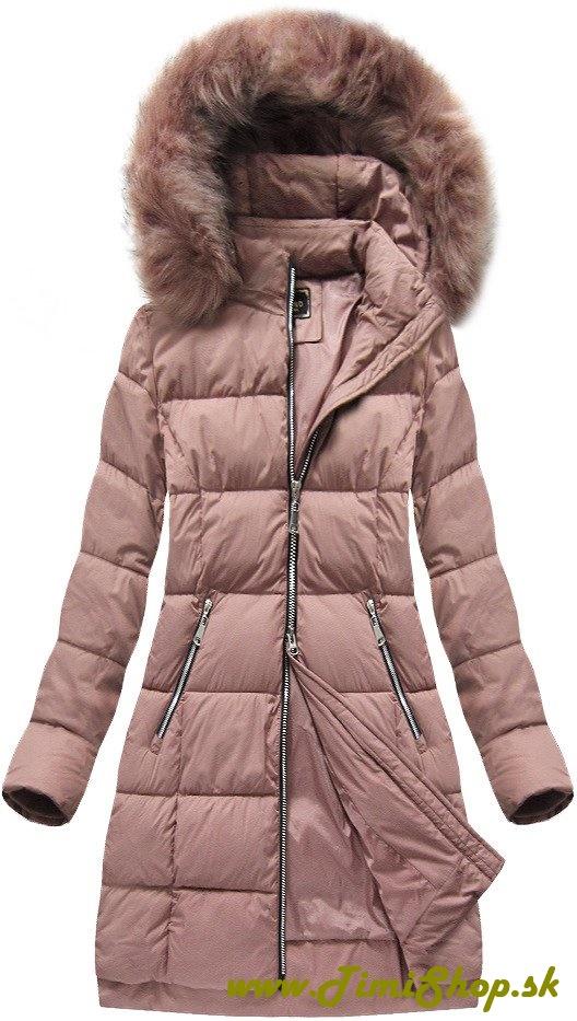 8d8dfdafb967 Prešívaná dlhá zimná bunda - Ružova