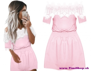 Šaty španielka elastické v páse - Ružova - veľkosť  S-M - SKLADOM empty c342fc8439a
