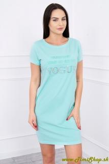 Šaty krátky rukáv s vreckami a nápisom Vogue - Mäta empty 61cf851257e