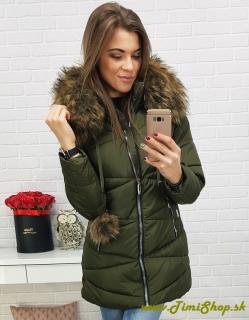 Dámska zimná bunda - Khaki empty e8cd8b0cb7c